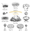hand drawn Thanksgiving food set vector image