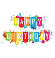 happy birthday bunting with balloons vector image vector image