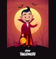 happy halloween cartoon character dracula kid vector image vector image