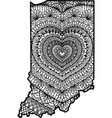 heart in indiana state vector image