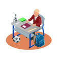 isometric education concept boy makes a homework vector image