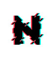 logo letter n glitch distortion diagonal vector image vector image