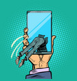 man dives into the smartphone vector image vector image
