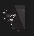 mobile phone black with chat vector image