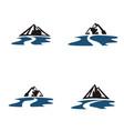 mountain river logo vector image vector image