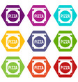 pizza box cover icon set color hexahedron vector image vector image
