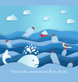 plastic pollution in sea ecological blue vector image vector image