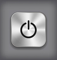 Power icon - metal app button vector image vector image