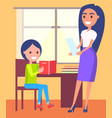 private lessons at home with schoolboy and teacher vector image vector image