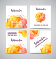 set banners with orange and pink watercolor vector image vector image