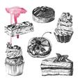 set hand drawn desserts vector image