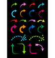 Set of curved arrows colorful on black vector image