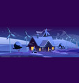 smart house with wind turbines at winter night vector image vector image