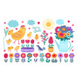 spring set hand drawn flowers birds and vector image vector image