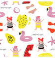 summer childish seamless pattern with cute girls vector image vector image