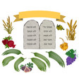 tablets of stone and seven species set vector image vector image