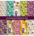 Ten Flat Seamless Halloween Party Patterns Set vector image vector image