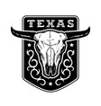 texas vintage emblem with bull skull vector image vector image