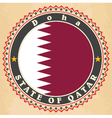 Vintage label cards of Qatar flag vector image vector image