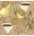 Vintage tea and lemon seamless background vector image vector image