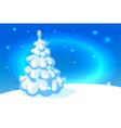 white christmas tree on blue shining background vector image vector image