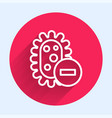 white line negative virus icon isolated with long vector image vector image