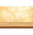 wood table top on golden bokeh abstract background vector image vector image
