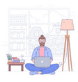 young man sits on floor with notebook vector image vector image
