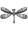 Zentangle stylized dragonfly vector image vector image