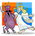 Angel and Devil in Friendship Cartoon vector image