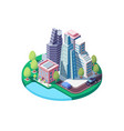 3d isometric city landscape with street urban vector image vector image