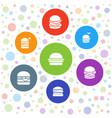 7 bun icons vector image vector image
