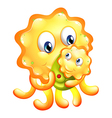 A yellow monster with a child vector image vector image