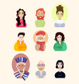 assembled set of different beautiful people on vector image
