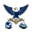Bald Eagle Hold Scales Earth Money Retro vector image
