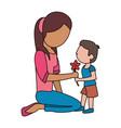 boy giving flower mother celebration vector image vector image