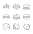 burger sandwich bread bun icons set outline style vector image