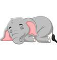 cartoon elephant sleeping on white background vector image vector image