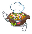 chef minestrone is served in cartoon bowl vector image vector image