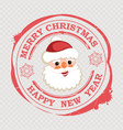 christmas red stamp with a cute ruddy face of vector image vector image