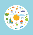 CIrcle city with cute element vector image vector image