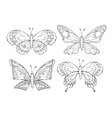 Collection of pretty cartoon butterflies isolated vector image vector image