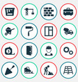 Construction icons set collection of cogwheel