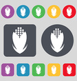 Corn icon sign A set of 12 colored buttons Flat vector image vector image