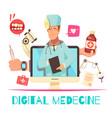 digital medicine cartoon composition vector image vector image