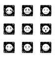 Emoticons icons set grunge style vector image