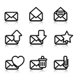 Envelopes Icons with reflection vector image vector image