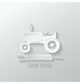 farm tractor cut paper background vector image