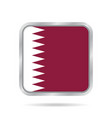 flag of qatar shiny metallic gray square button vector image vector image