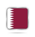 flag of qatar shiny metallic gray square button vector image vector image